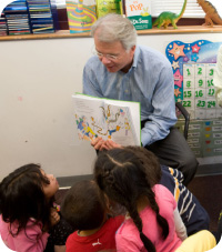 John Conley reading to kids